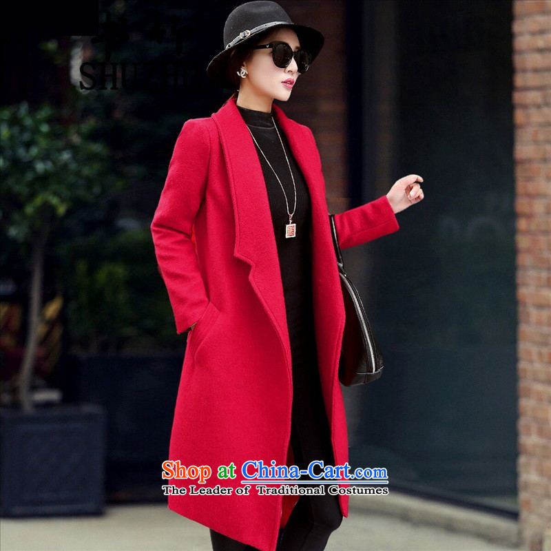 Sin has so gross jacket female new autumn 2015 Long, temperament a wool coat Korean women? coats thick coat TNXCMZ808 RED M