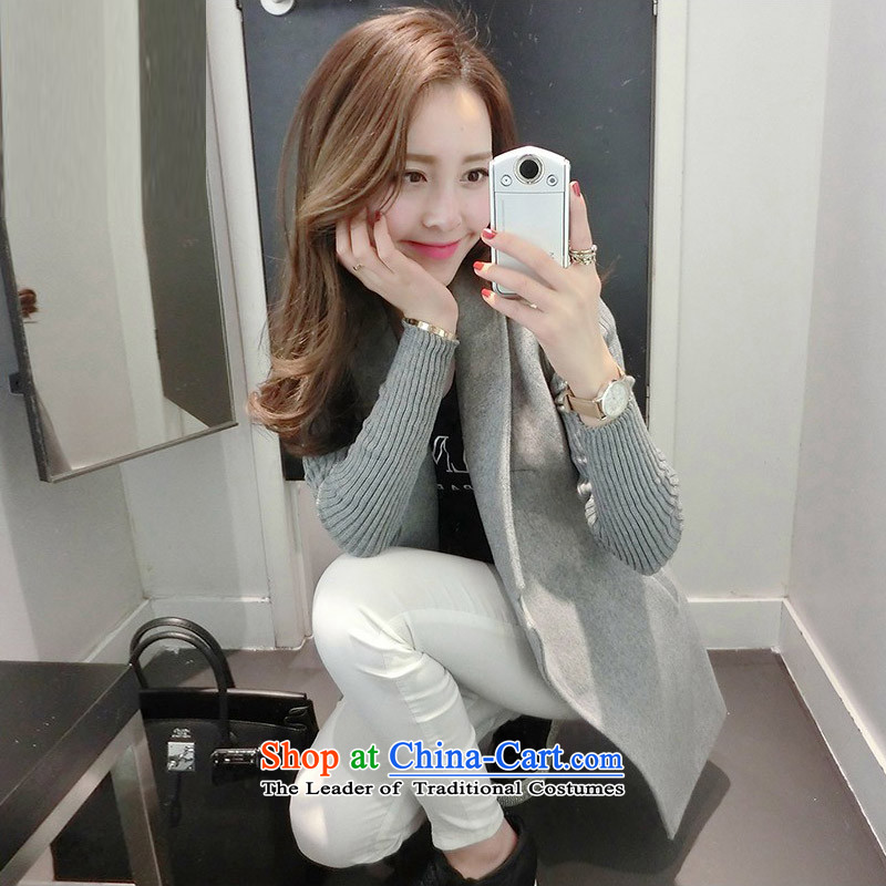 Load the autumn 2015 has sin new Korean citizenry video thin stylish and simple stylish casual jacket female TNMQC8582 gross?  M Gray