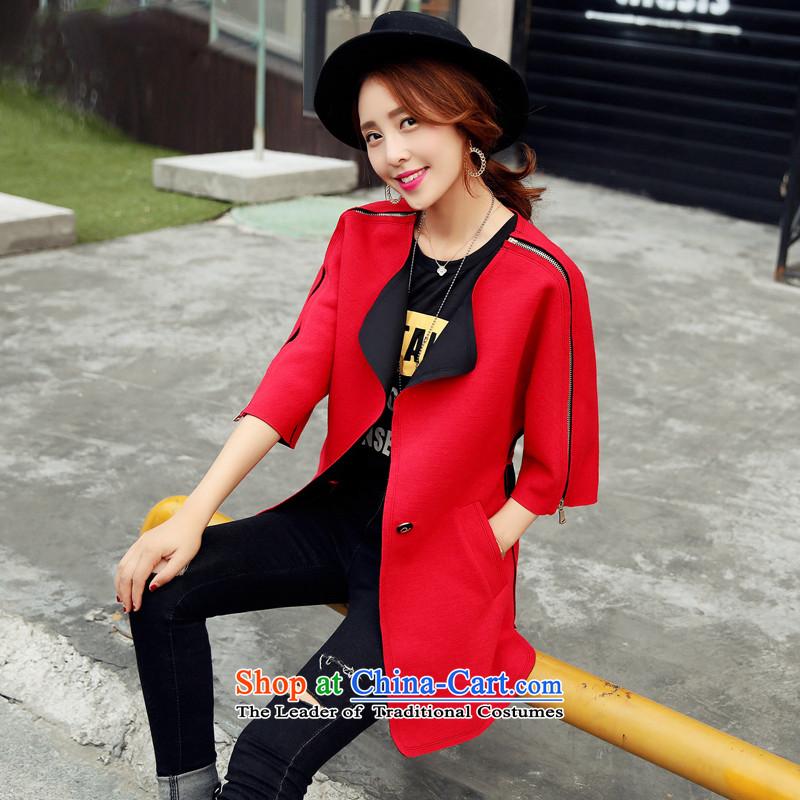 燣oad the autumn 2015 has sin Korean citizenry video thin pure color is simple and stylish coat燭NDLQY1985 female爎ed燲L