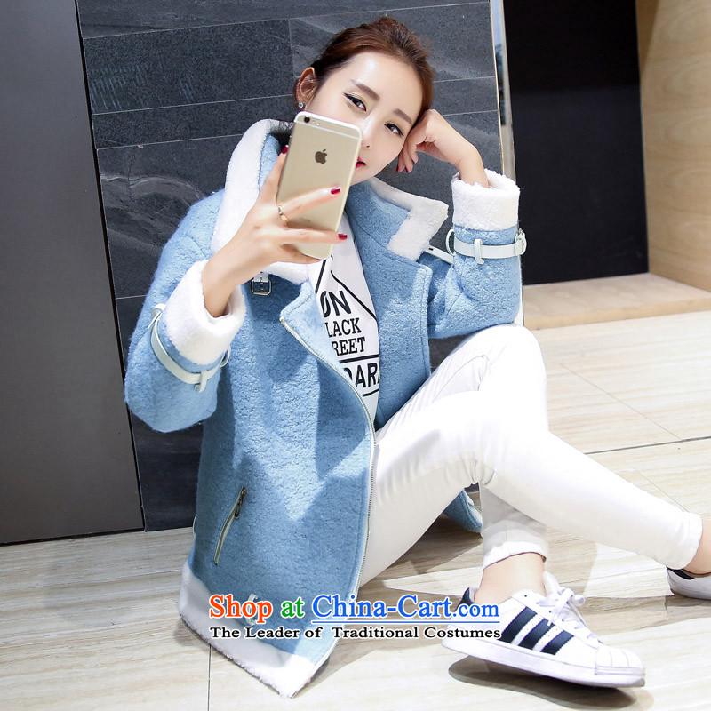 燣oad the autumn 2015 has sin new Korean citizenry video thin solid color minimalist gross? female jacket Sau San燭NMDN580爈ight blue燤