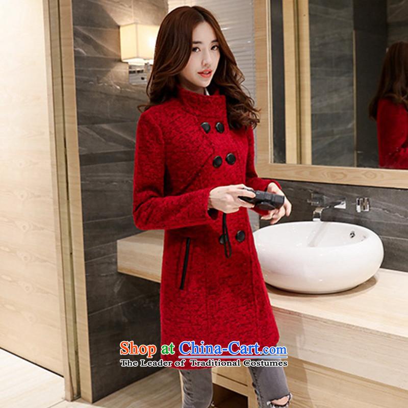燣oad the autumn 2015 has sin new Korean citizenry video thin stylish and simple girl tnwenr1513 gross? coats, wine red燤