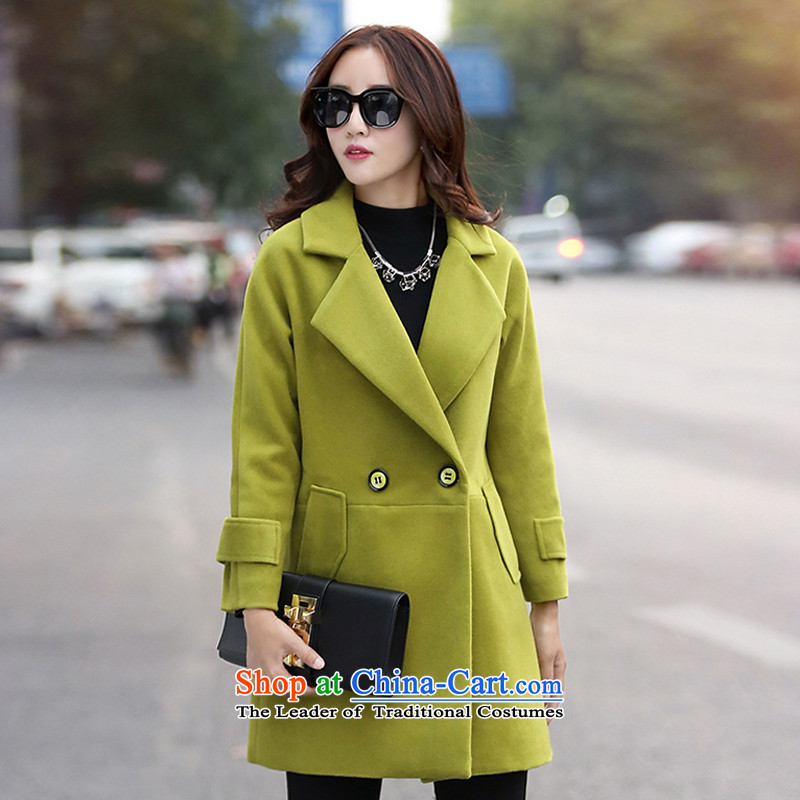 The聽Korean version of the chemist XINYARAN pure color large roll collar jacket聽JYY803 gross?聽Qiu Xiang green聽XL