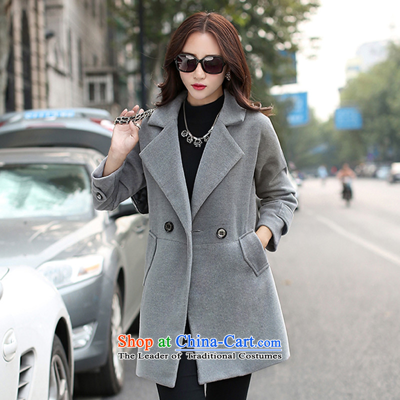 The Korean version of the chemist XINYARAN pure color large roll collar jacket JYY803? gross gray XL