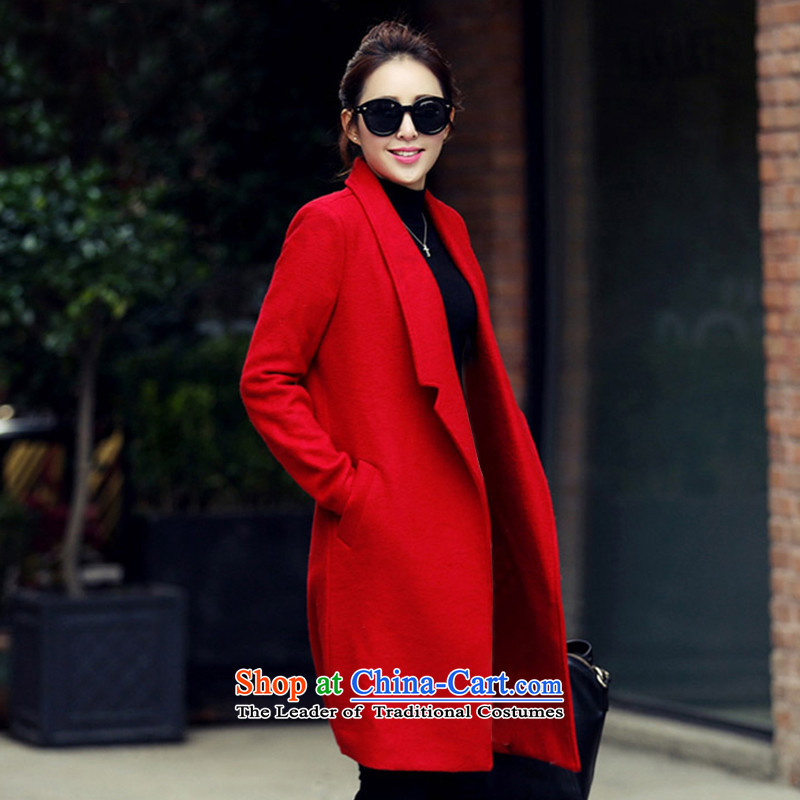 The chemist聽XINYARAN聽pure colors in the lapel long coats聽XYR1188 gross?聽RED聽M
