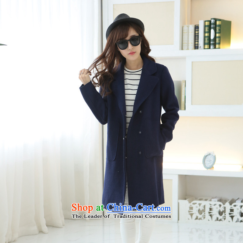 8 forged Kam _gross_? coats BETOUCH�15 autumn and winter new Korean female coats gross? suits in the medium to long term to the fleece jacket large code?   Blue A1867 L