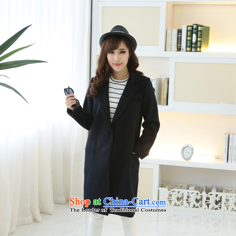 8 forged Kam _gross_? coats BETOUCH�15 autumn and winter new Korean female Stylish coat gross? Small Business suit in long large Sau San? A0029 wool coat blue L