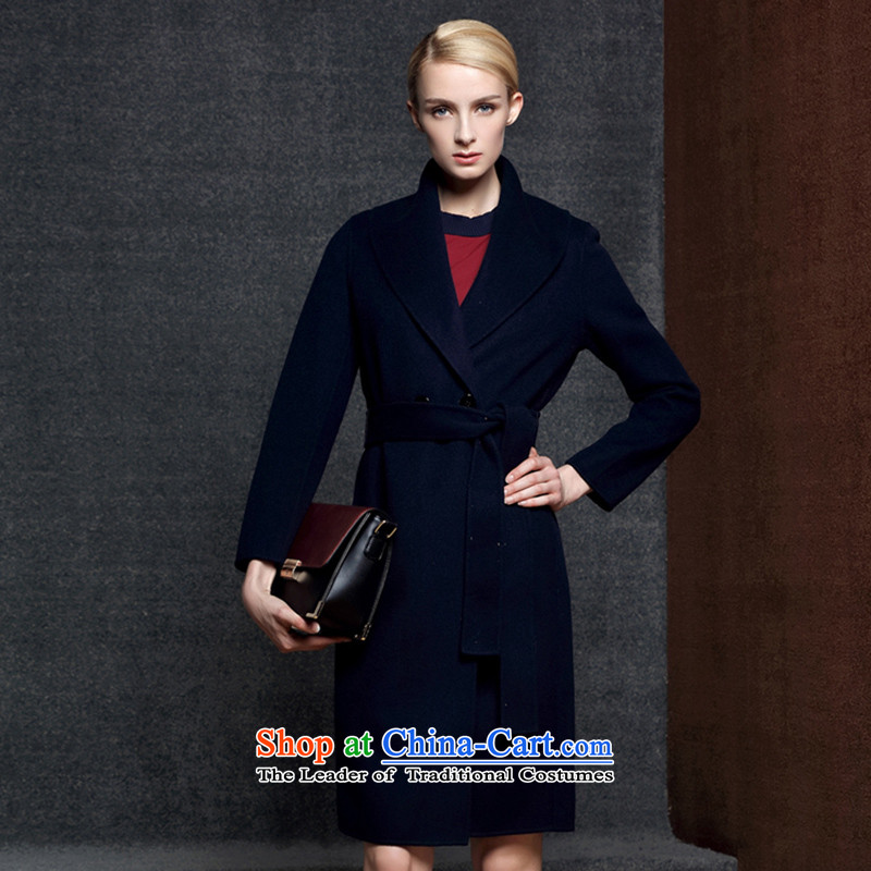 Strawman _MEXICAN_ 2015 autumn and winter with a long double-sided Cashmere wool coat jacket large code? female 8007 Navy M
