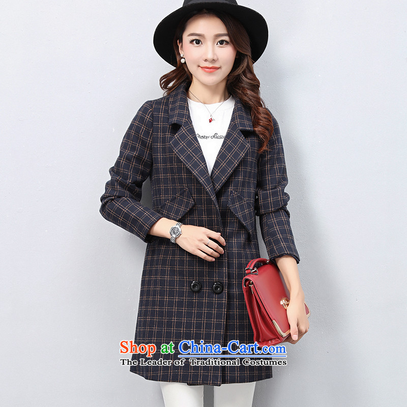The OSCE with _ Korean OUHUAI_ Fall_Winter Collections female new stylish simplicity long-sleeved lapel long hair? coats jacket compartments B23060 navy M code