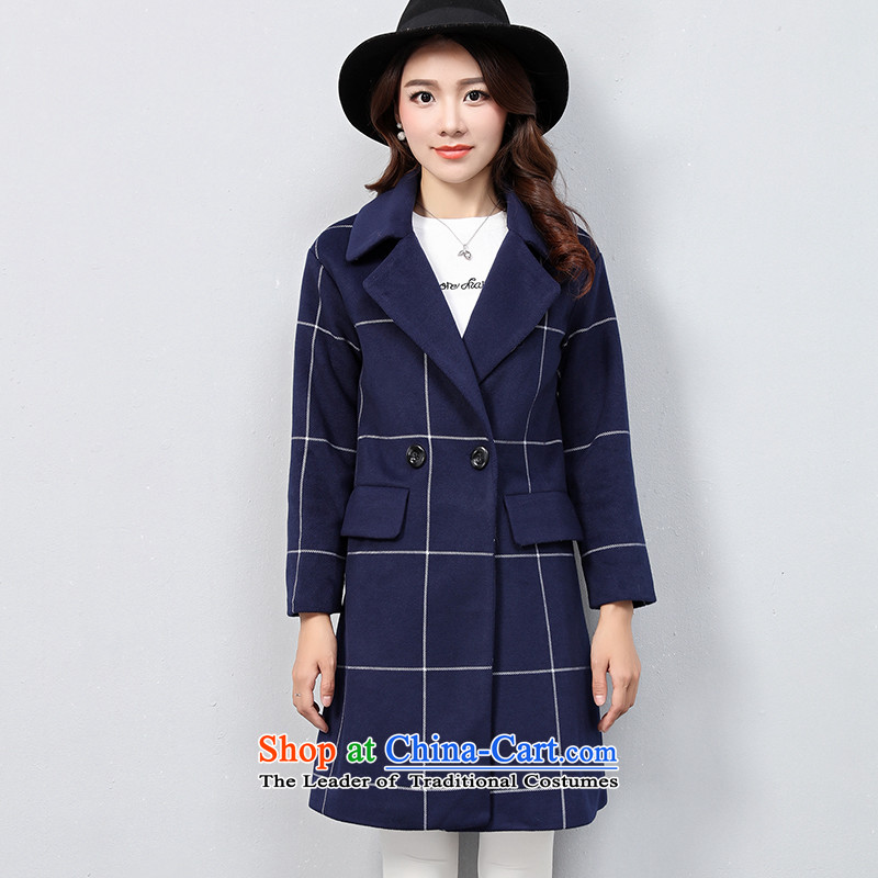 The OSCE with _ Korean OUHUAI_ Fall_Winter Collections female new stylish simplicity long-sleeved lapel long hair? coats jacket compartments B23059 BLUE XL code