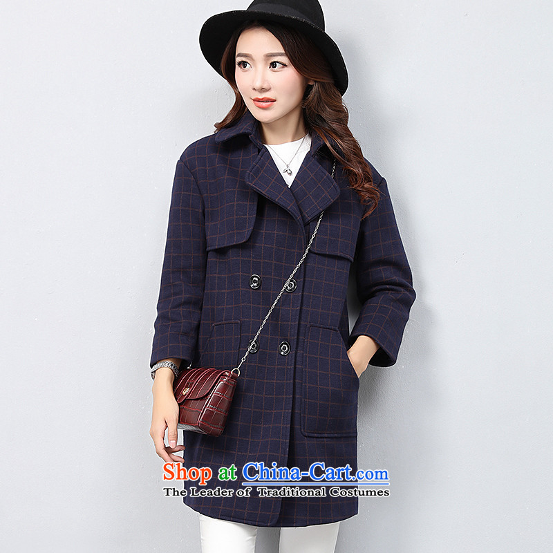 The OSCE with _ Korean OUHUAI_ Fall_Winter Collections female new stylish simplicity long-sleeved lapel long hair? coats jacket compartments B23057 navy L code