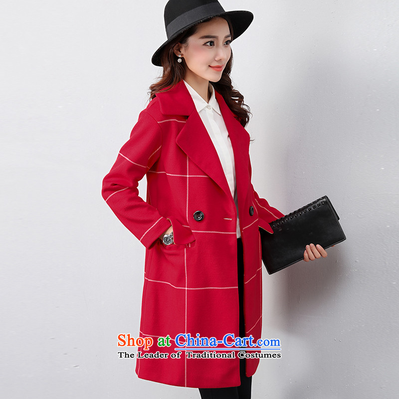 The OSCE with _ Korean OUHUAI_ Fall_Winter Collections female new stylish simplicity long-sleeved lapel long hair? coats jacket compartments B23059 RED M code