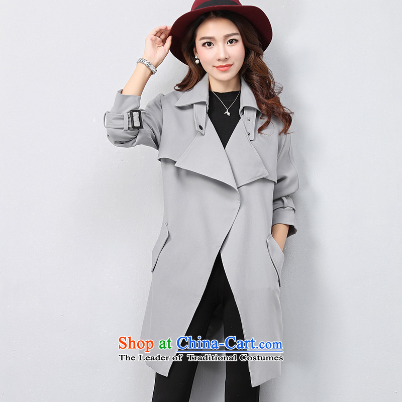 The OSCE with ( Korean OUHUAI) Fall/Winter Collections female new stylish simplicity long-sleeved lapel pure color long coats jacket B21056 GRAY M code