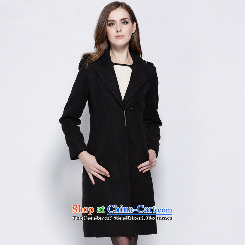 Consideration Lisa _LISHA stylish lapel jacket coat gross? M 12228 black windbreaker
