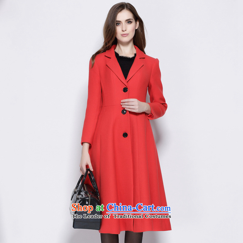 Consideration Lisa _LISHA_ Solid Color single row detained long-sleeved Wind Jacket coat red XL gross ML15807?