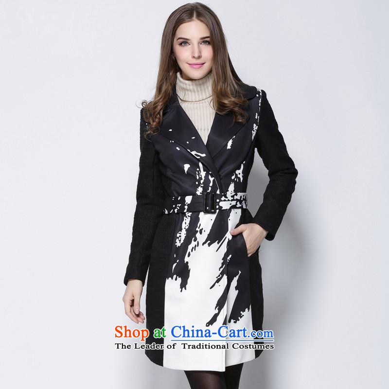 Consideration Lisa _LISHA_ V-Neck stamp windbreaker gross coats long jacket, so black XL ML15178