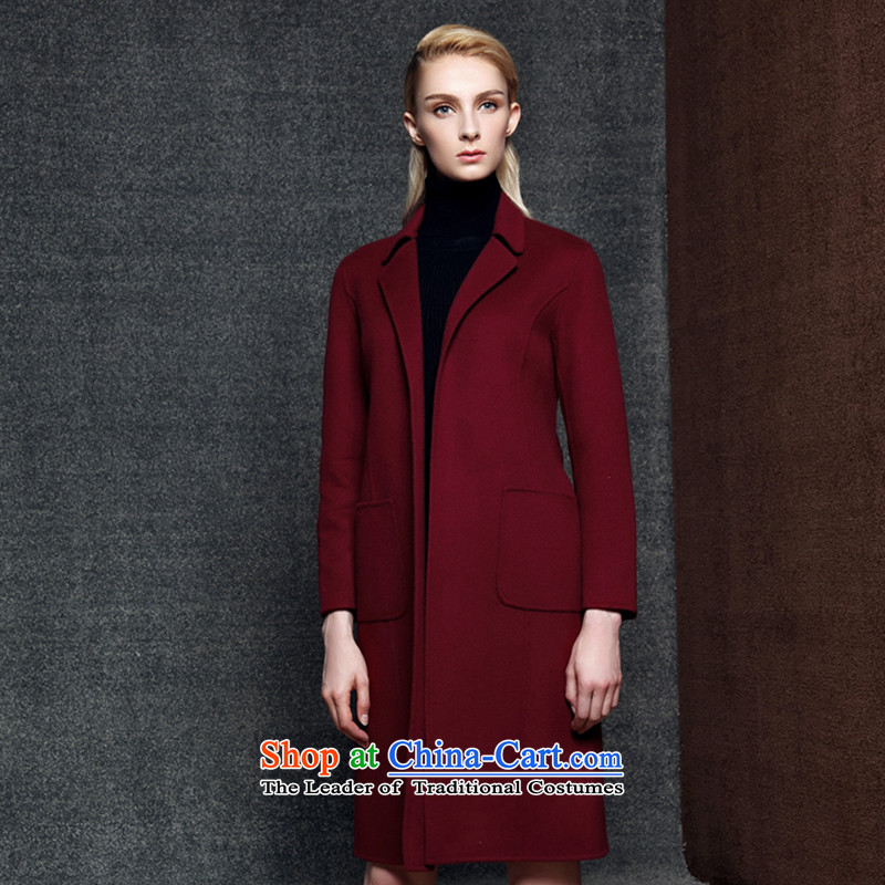 Strawman (MEXICAN) duplex cashmere overcoat girl in 2015 New Long roll collar knots Sau San wool coat8008?wine redS