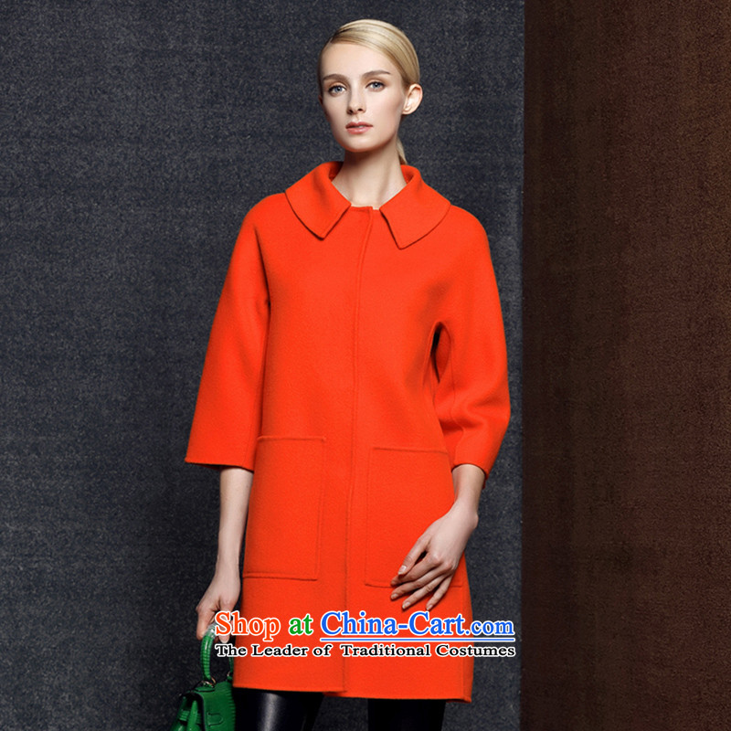 Strawman _MEXICAN_ 2015. long coats reverse collar double-sided cashmere overcoat jacket for gross? can be shirked women 8022 Tangerine Orange M