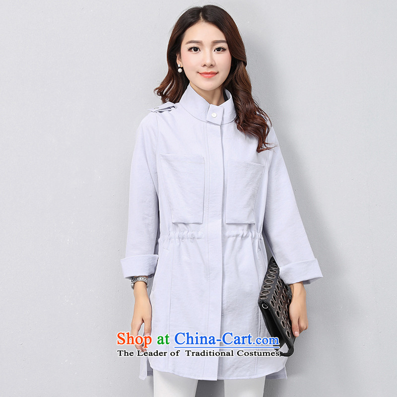 The OSCE with ( Korean OUHUAI) Fall/Winter Collections female new stylish simplicity long-sleeved-semi-high collar in Sau San long straight jacket B21069 pure color light blue M code