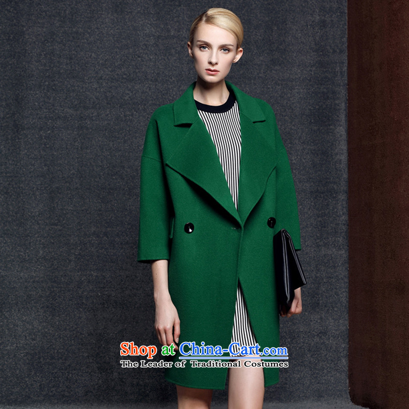 Strawman _MEXICAN_2015 new autumn and winter coats duplex Cashmere wool? In long double-wool a coat8021GreenS