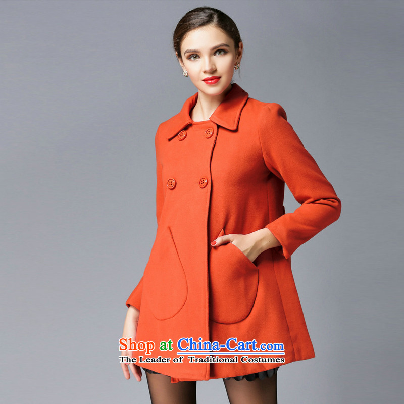 Consideration Lisa _LISHA_ Video thin repair waist a wool coat gross orange coat? XL 3303