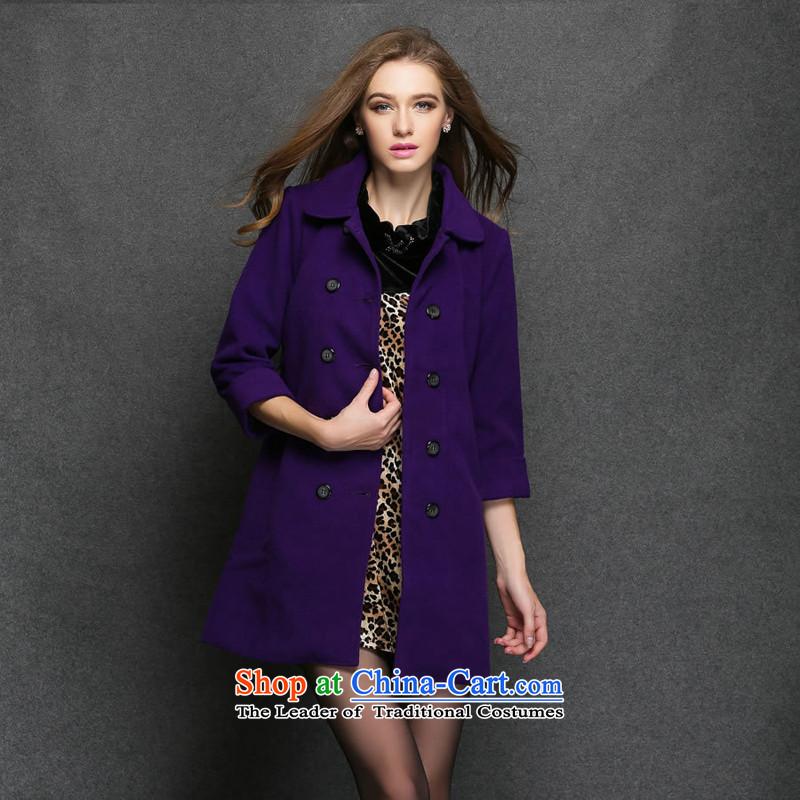 Consideration Lisa _LISHA_ Double-Sau San long coats gross? coats purple M 3005