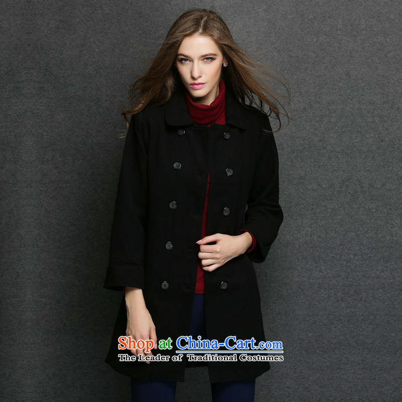 Consideration Lisa _LISHA_ Double-Sau San long coats coats black S gross? 3005