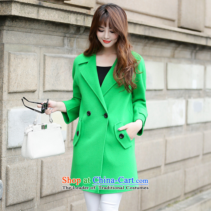 Hengyuan Cheung gross in Ms. coat? long double-side jacket燬XM111111 bright green M