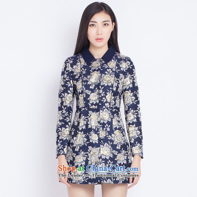 The war-hee (QS) palace wind retro floral thin coat JRA1D7 Sau San video blue 165/88A 40