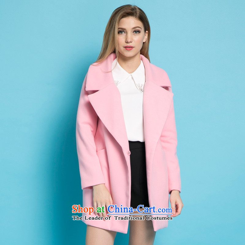 Strawman _MEXICAN_ 2015 autumn and winter coats new gross? female Sau San video thin a wool coat Korean jacket JH891 gross? pink L