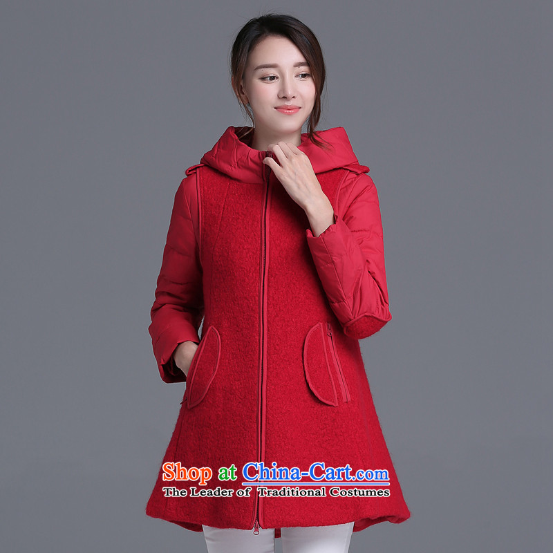 Strawman _MEXICAN_ 2015 autumn and winter coats gross? in the medium to long term to Sau San, a wool coat QLJ980 female RED M