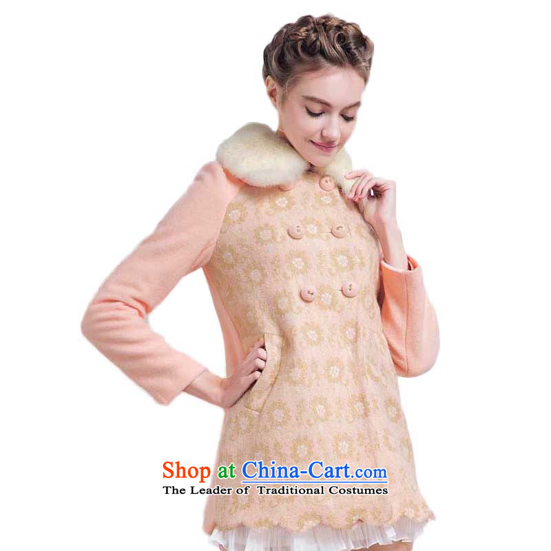 Chaplain Mai-mai _CHIU SHUI_ elegant ladies version A transition can be shirked angora wool terylene referred for coats jacket pink L 634112057