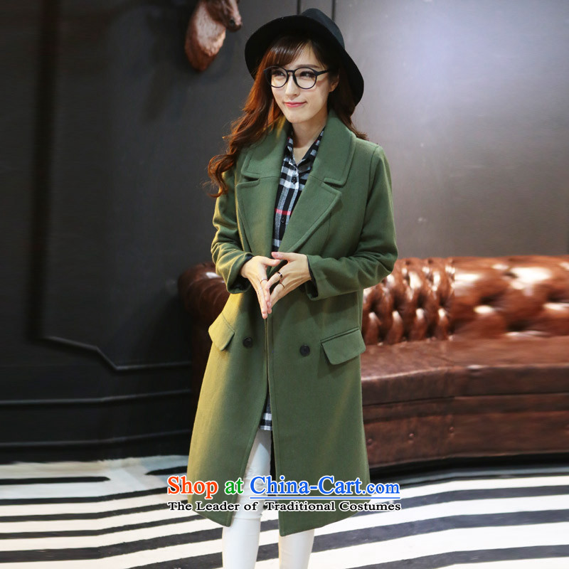 8 forged Kam _gross_? coats BETOUCH�15 new Korean autumn and winter coats female high-quality gross? double-Sau San over the medium to longer term gross A3120 jacket? Army green L