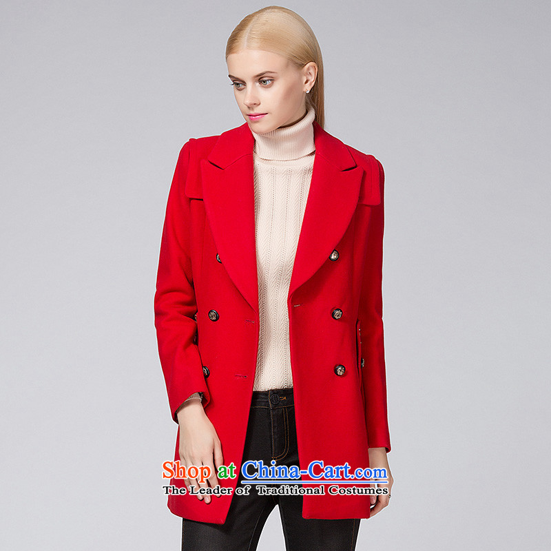 Ditto D13DR581 autumn and winter new stylish wild double-red cloak gross? L