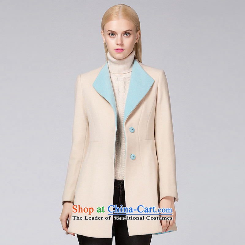 Ditto D13DR585燼utumn and winter new stylish lapel in long hair? coats m apricot燣