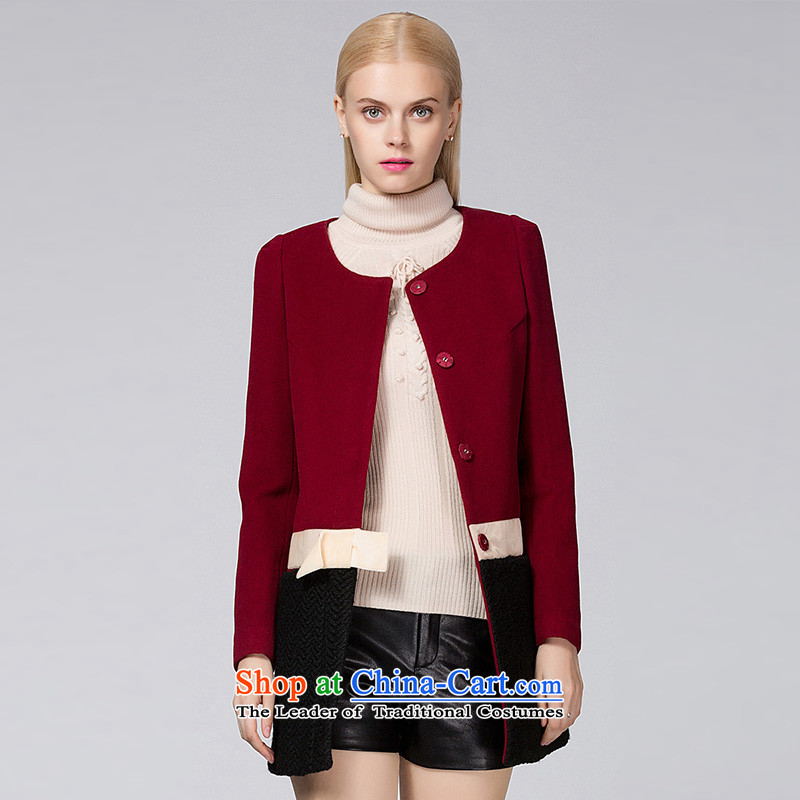 Ditto D13DR583autumn and winter new stylish knocked color stitching bow tie gross coats bourdeauxXL?