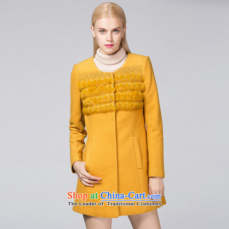 Ditto D13DR572燼utumn and winter new stylish wild neck long coats gross? yellow燬