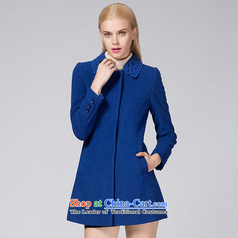 Ditto D13DR569燼utumn and winter new stylish wild beauty in the medium to long term gross blue coat?燬