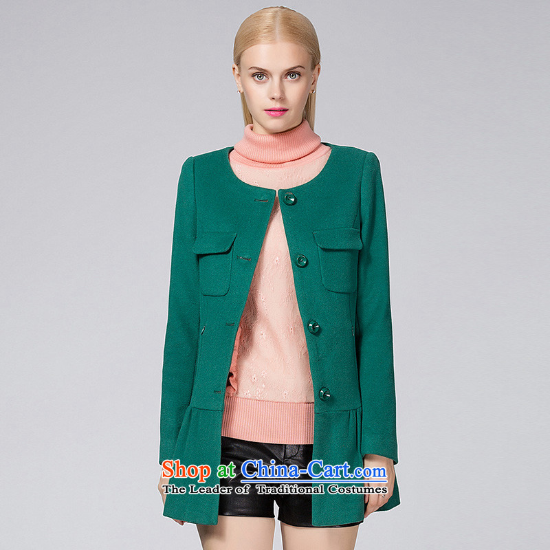 Ditto D13DR563 autumn and winter new stylish wild billowy flounces, under the gross green L coat?