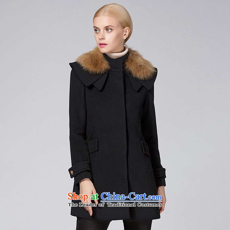 Ditto D13DR548 autumn and winter new stylish wild in the long hair black cloak? XL
