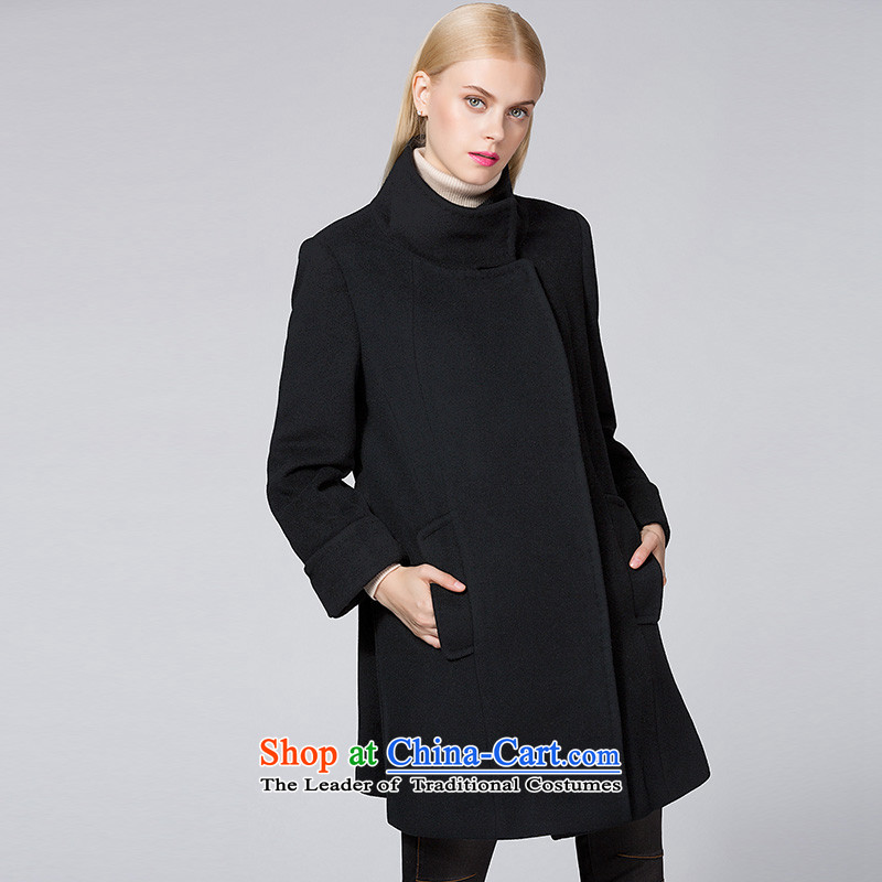 Ditto D13DR542 autumn and winter new stylish wild collar in long coats black L gross?