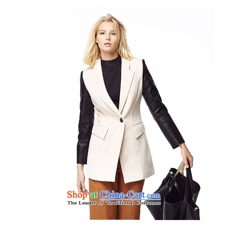 The stylish leather spell lily? m White S LL214407002 Coats