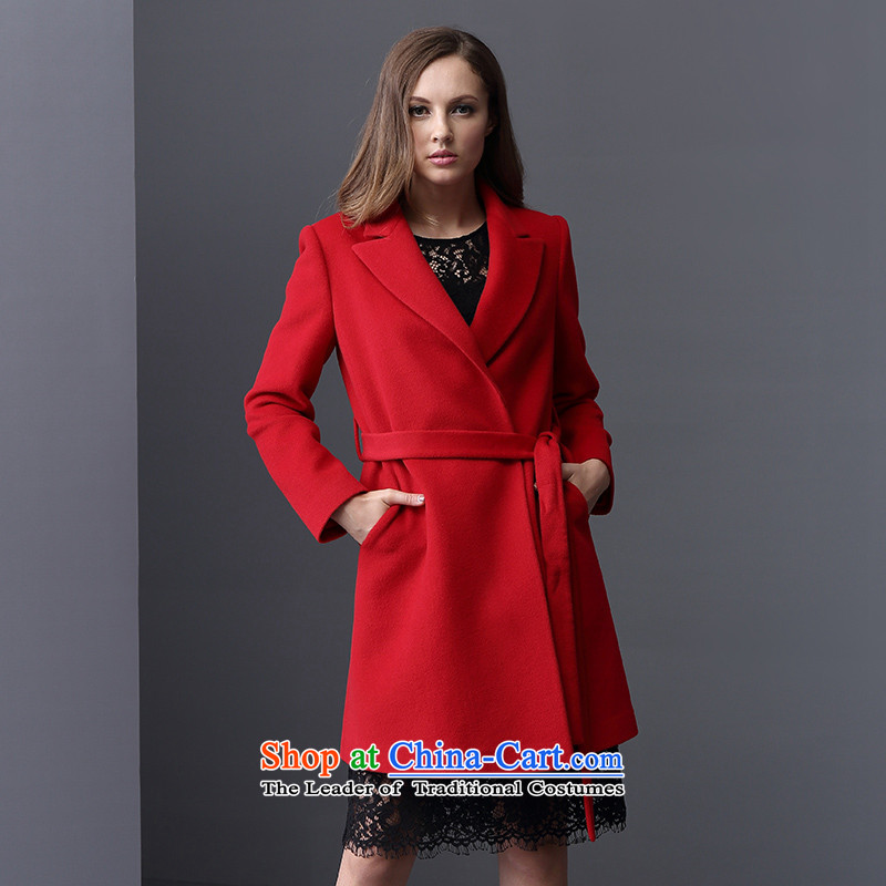 Elle2015 autumn and winter new women's woolen a wool coat jacket in gross? Long Sau San wild red windbreaker 160_84A 01 _36_
