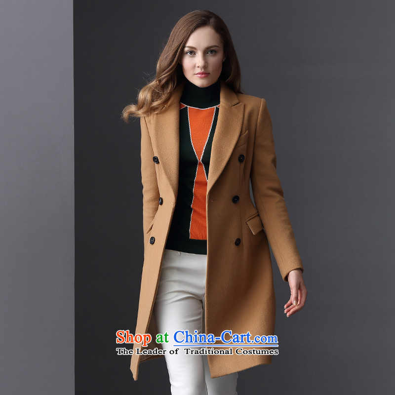 Elle2015 autumn and winter new women's double-medium to long term, Sau San wool a wool coat Jacket Card 170_92A its 02 _40_