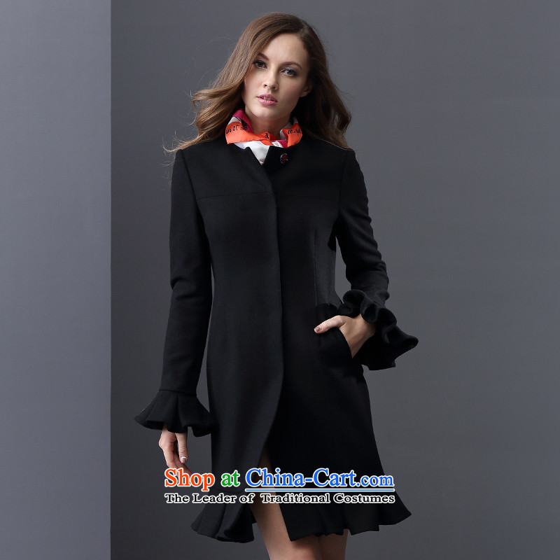 Elle Women 2015 autumn and winter New swing temperament. Long omelet, long-sleeved jacket? gross wool coat black 175_96A 01 _42_