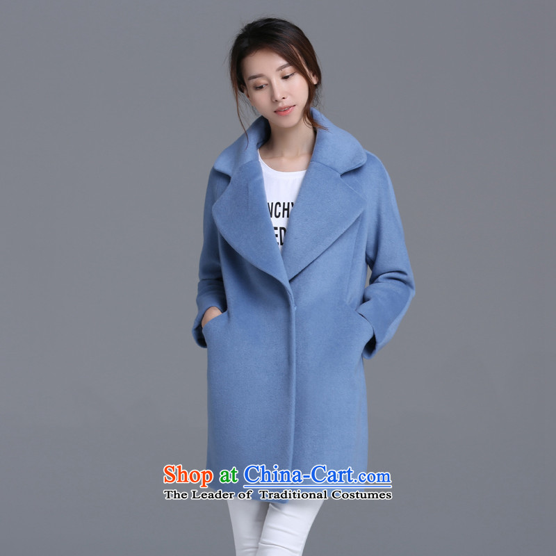 Strawman _MEXICAN_ 2015 autumn and winter coats gross? in the medium to long term to Sau San, a wool coat female QLJ837 BLUE L