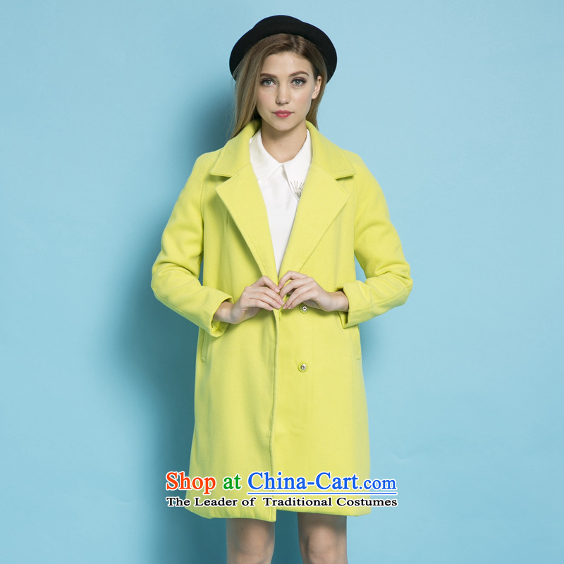 Strawman _MEXICAN_ 2015 autumn and winter new gross? long coats that Korean women Sau San a wool coat�85爁ruit green燤