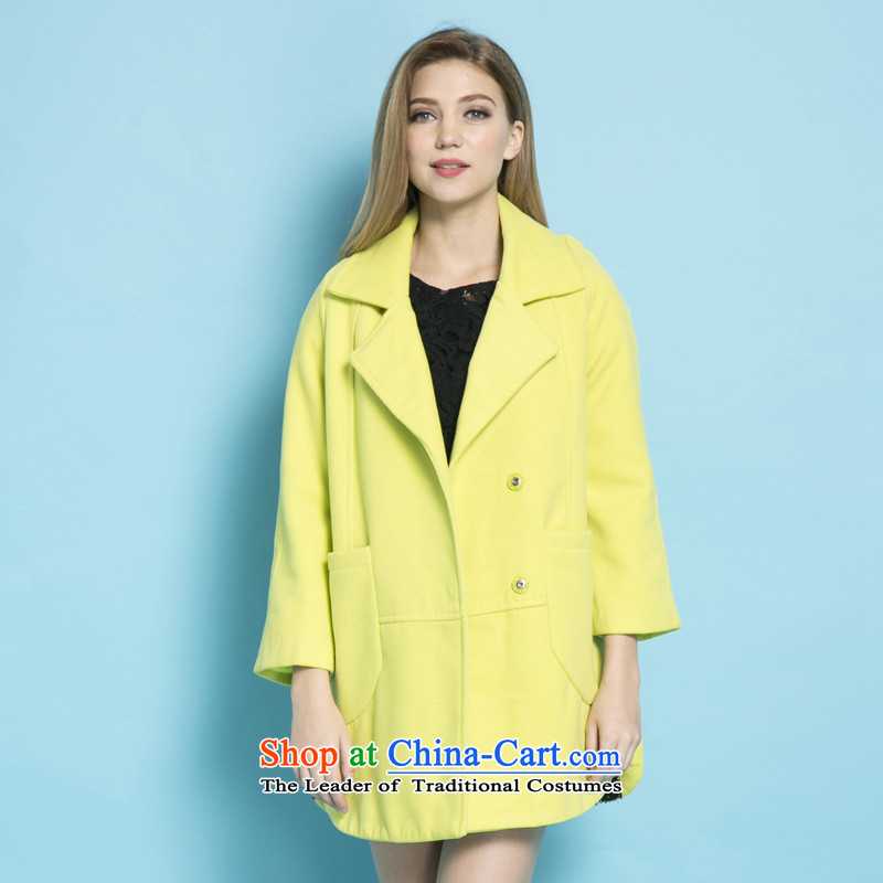 Strawman _MEXICAN_ 2015 Fall_Winter Collections new coats female decorated gross?. Long jacket, a wool coat female聽  8186聽fruit green聽S