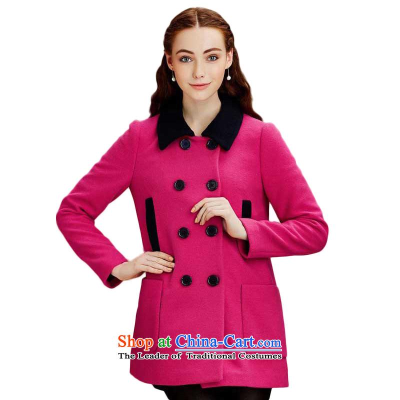 Chaplain Mai-mai _CHIU SHUI_ new women's urban OL knocked color roll collar double row is long coats jacket plum XL 634112197