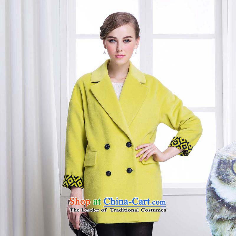 Chaplain Mai-mai _CHIU SHUI_ loose in long double-reverse collar gross? Women's blouses yellow L634112048 Coats