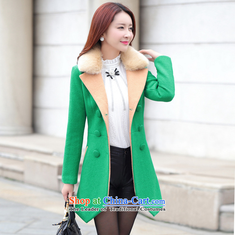 Sin has loaded the autumn and winter 2015 new Korean women in large long hair Sau San? jacket cashmere duplex a wool coat female zx15101602 green L